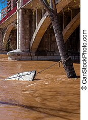 Sinking Boat - Sinking boat due to the flood in Pisuerga...