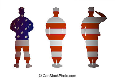US Army soldier in three positions isolated on white...