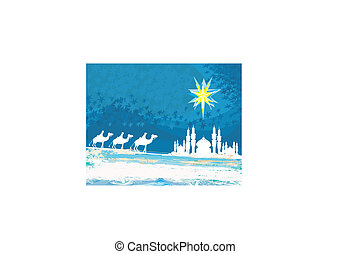 Classic three magic scene and shining star of Bethlehem