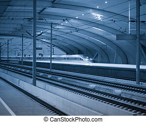 high speed rail station - there are many high-speed bullet...