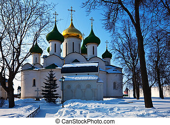 Cathedral of the Transfiguration at Suzdal in winter. Russia...