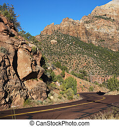 Zion National Park, Utah. - Two lane road winding through...
