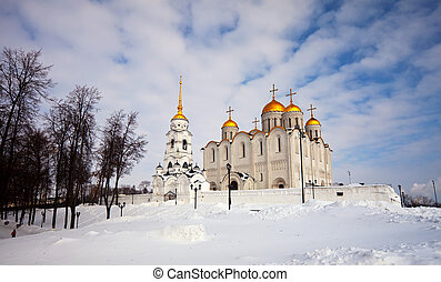 Uspenskiy cathedral at Vladimir in winter, Russia...