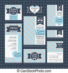 set of classic wedding cards vector illustration