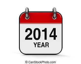 Icon calendar 2014 year isolated on white background,...