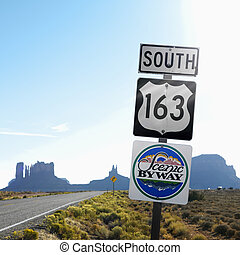 Scenic Byway 163 sign, Utah. - Sign for Scenic Byway 163...