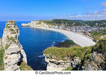Etretat, aerial view of village on Normandy coast, France