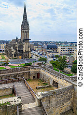 Caen, castle and Leglise Saint-Pierre, Normandy, France