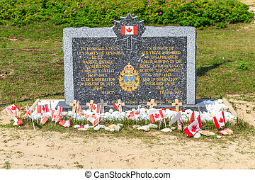 Normandy Landings, Canadian Army Memorial at Juno Beach,...