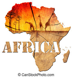 Africa Map Wooden Illustration - Africa map with wood...