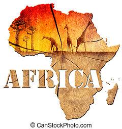 África, mapa, madeira, Ilustração