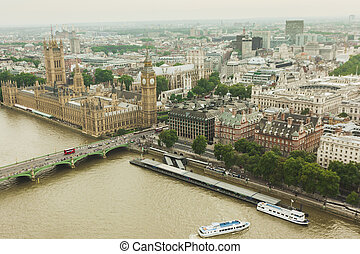 Aeriel view over London - Cityscape of london and big ben