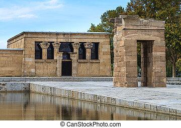 Madrid, ancient Egyptian temple of Debod, Spain - Madrid,...