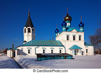 Church at Gorokhovets in winter. Russia