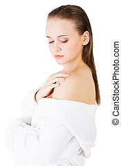 Attractive woman with a bathrobe
