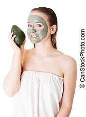 piękny, kobieta, zielony, Awokado, glina, twarzowy, Maska