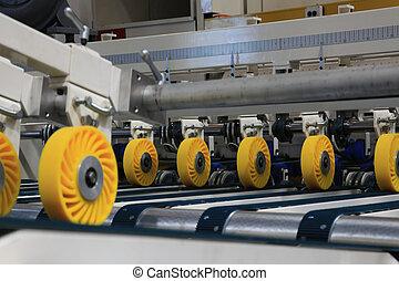 Printing machine - Closeup of printing machine working part...
