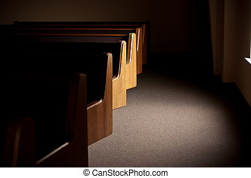 Pews by window - church pews near a window