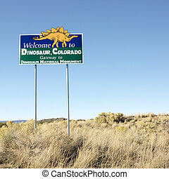 Welcome sign Dinosaur, Colorado - Welcome sign for city of...