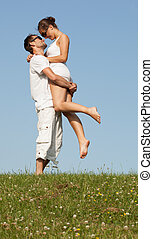 Happy carefree romantic young couple