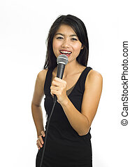 asian karaoke - Young asian singing with microphone