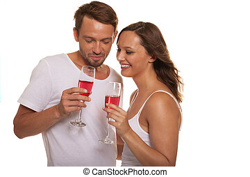 Couple celebrating with champagne