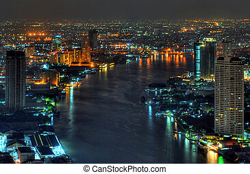 chao phraya river in bangkok - view from the state tower in...