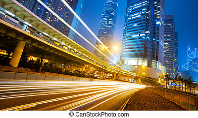 hongkong - traffic city night at hongkong,china