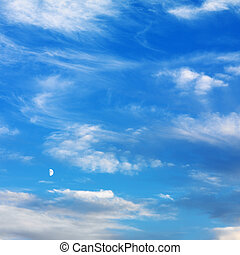 Blue sky with clouds - Wispy cloud formations against clear...
