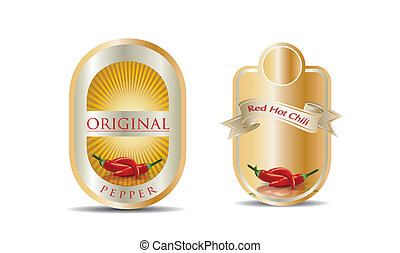 Label for a product chilli sauce with photo-realistic vector...