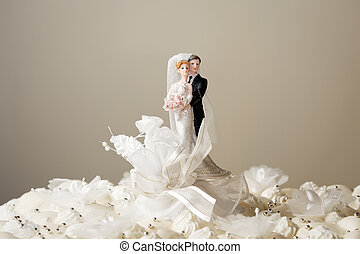 wedding cake - Figurines on top of wedding cake Copy space