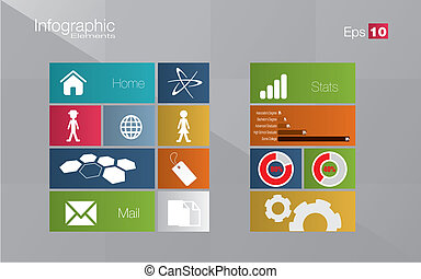 Metro style infographic concept in editable vector format