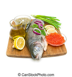 fresh raw trout, vegetables, olive oil, lemon, spices and...