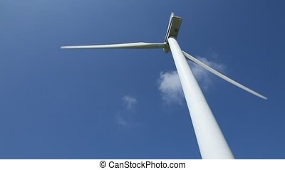 Wind Turbine - Wind power turbine spinning in the wind