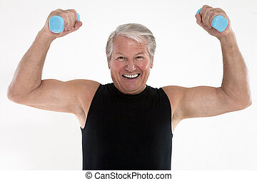 weight lifting - senior adult doing weight lifting on white...