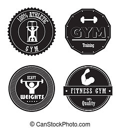 gym seals over white background vector illustartion