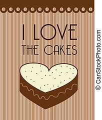 i love the cakes over lineal background vector illustration