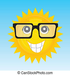 happy sun - abstract happy sun with glasses on special blue...