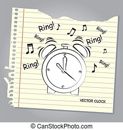 alarm clock over leaf notebook background vector...