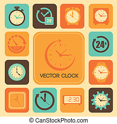 clock design over cream background vector illustration