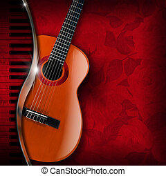 Acoustic Guitar and Piano Red Flowers - Acoustic brown...
