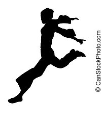 leaping dancer - illustration silhouette of leaping oriental...
