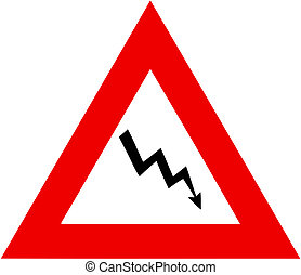 crisis warning sign - illustatration of financial crisis...