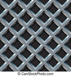 Seamless metal grill with diamond shape pattern