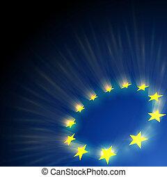 European Union stars glare on dark blue background