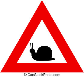 danger snails - illustration of danger road sign with slow...