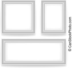 Blank white wall picture frames
