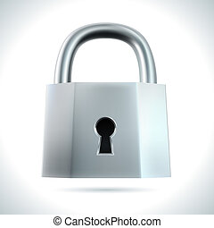 Metal padlock isolated on white background vector...