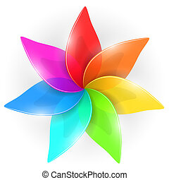 Abstract colorful flower bud with rainbow colored petals...