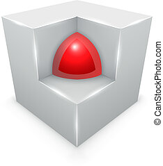 3D concept  – sphere inside cube isolated on white background.